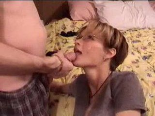 Elegant shorthaired full-grown blowjob and facial