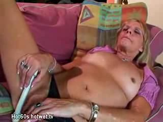 Full-grown Tow-haired Floozy Masturbates Together more Gives Blowjob