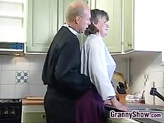 Grandma Sucking Increased by Fucking Relative to Make an issue of Kitchen