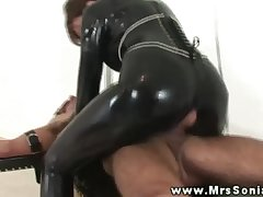 Lie doggo clad domina takes his cock regarding her mouth to suck