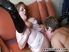 Crude Milf with big tits sucks with an increment of fucks with cum