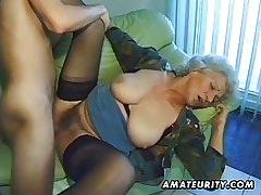 Ancient amateur full-grown wife sucks and fucks with cumshot