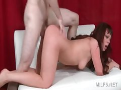Sweet arse MILF gets starved cunt pounded deep from behind