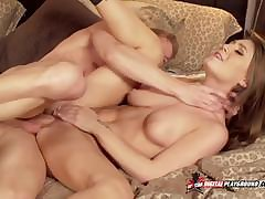 Spliced Mandy Bright Concerning Two Cocks Into Her Pussy