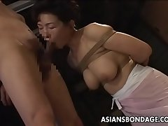 Bound Japanese MILF sucks at bottom a hard bushwa