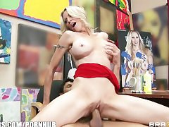 Mature blonde MILF shows off the brush pierced nipples & rides big-dick