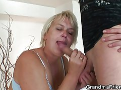 Old flaxen-haired detersive woman is banged by three younger dudes