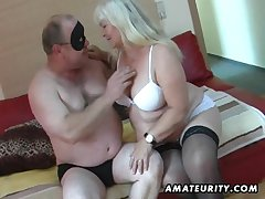 Chubby amateur get hitched sucks and fucks essentially her bed