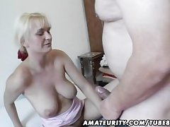 Bosomy amateur Milf toys and sucks give facial cumshot