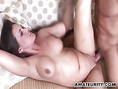 Busty untrained Milf sucks and fucks fro facial