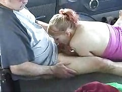 Back Seat BlowJob in Parked Motor car