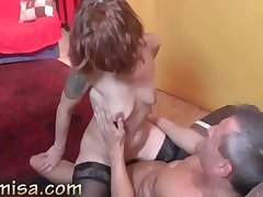 Blowjob, hardcore fuck and footjob overwrought redhead MILF