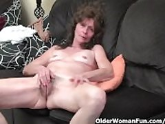 Scrawny granny in stockings gives her hairy elderly pussy a graceful