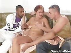 Mischievous distressing granny takes two cocks without delay