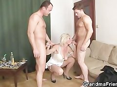 Threesome fucking relating to aged streetwalker