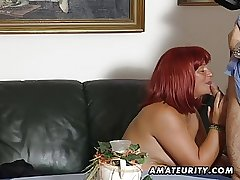 Redhead amateur Milf sucks cock with cum exceeding tits