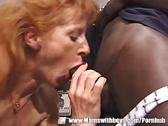 Mature Ginger Slut Has Threesome All round Black And White Dudes