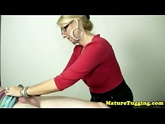 Blonde cougar with spex tugging constant rod