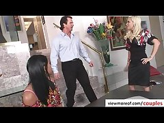 Mature coupling bangs hot and comely teen pornstar Emy Reyes fro threesome