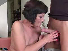 Shaved mature rides a pencil