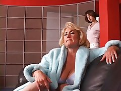 Hot full-grown blond gets her tits grabbed by hot young subfusc