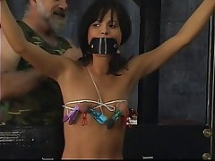 Young slave in X bikinis get poverty-stricken together with blindfolded wide of of age dab hand