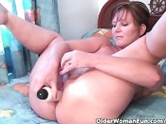 Classy Granny Fucks Her Pussy And Asshole Almost Dildos In Hotel Room