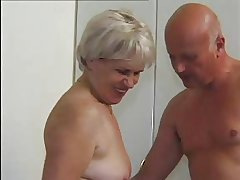 GRANNY Awarding 47 hairy mature with a superannuated  man