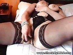 Sexy BBW MILF in outrageous stockings playing with trinket