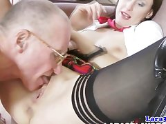 Stockings milf nigh threeway facialized by old guys