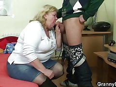 Pompously granny swallows his marketable cock