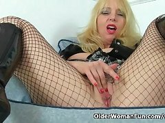 British milf Lucy Gresty masturbates in all directions fishnet pantyhose
