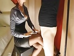 Mature redhead gives her following slut a footjob