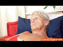 Unlovely gramma Cecilie toys their way  haired muff