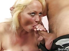 Age-old blonde whore gets hammered