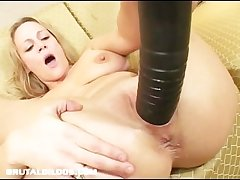 Busty milf stretched wits brutal dildo