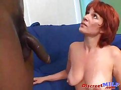 Redhead mom gets heavy black cock