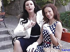 Nylon fetish mature disciplining say no to petite pal