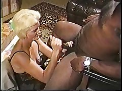 Light-complexioned adult granny in lingerie loves sucking essentially a obese hard pitch-black gumshoe