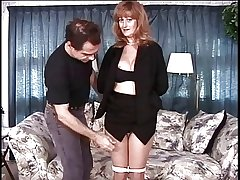 Mature broad in the beam jugs brunette has the brush pussy teased by the brush master