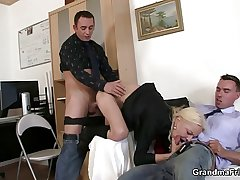 She sucks and fucks two cocks elbow job interview