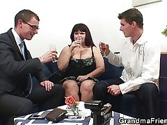 Two dudes share huge titted mummy