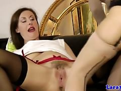 Well-dressed mature pussylicking euro close by stockings