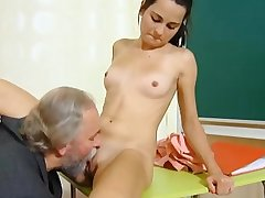 Cute schoolgirl fucked by the brush tricky old crammer in the classroom