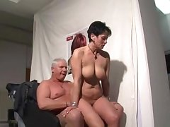 German mature woman sucking with the addition of riding a guy