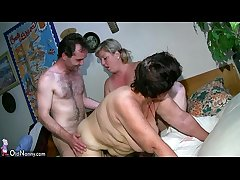 OldNanny Chubby full-grown and chunky milf strive threesome mating